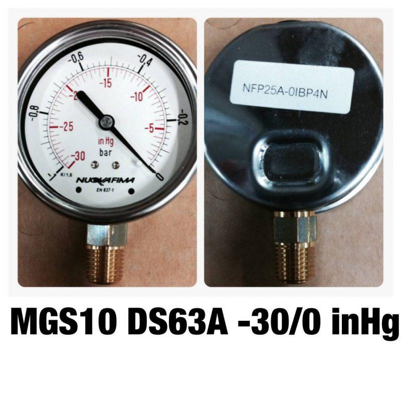 แวคคั่ม&คอมพาวเกจ หน้าปัด2.5 เกลียวทองเหลืองออกล่าง MGS10 DS63A -30/0 inHg