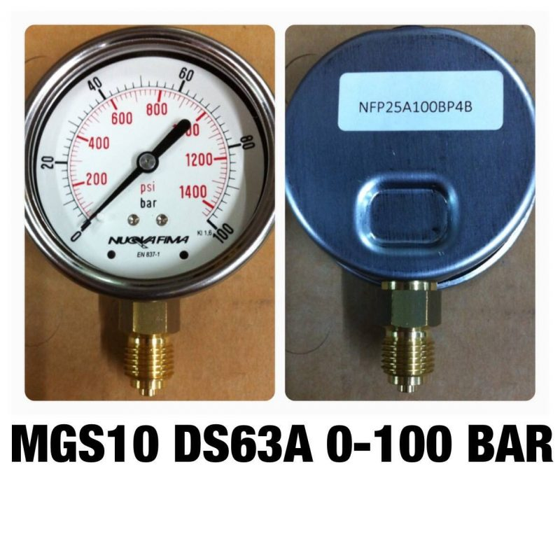 เกจทองเหลือง 2.5 ออกล่าง 60 Bar-600 Bar MGS10 DS63A 0-100 BAR