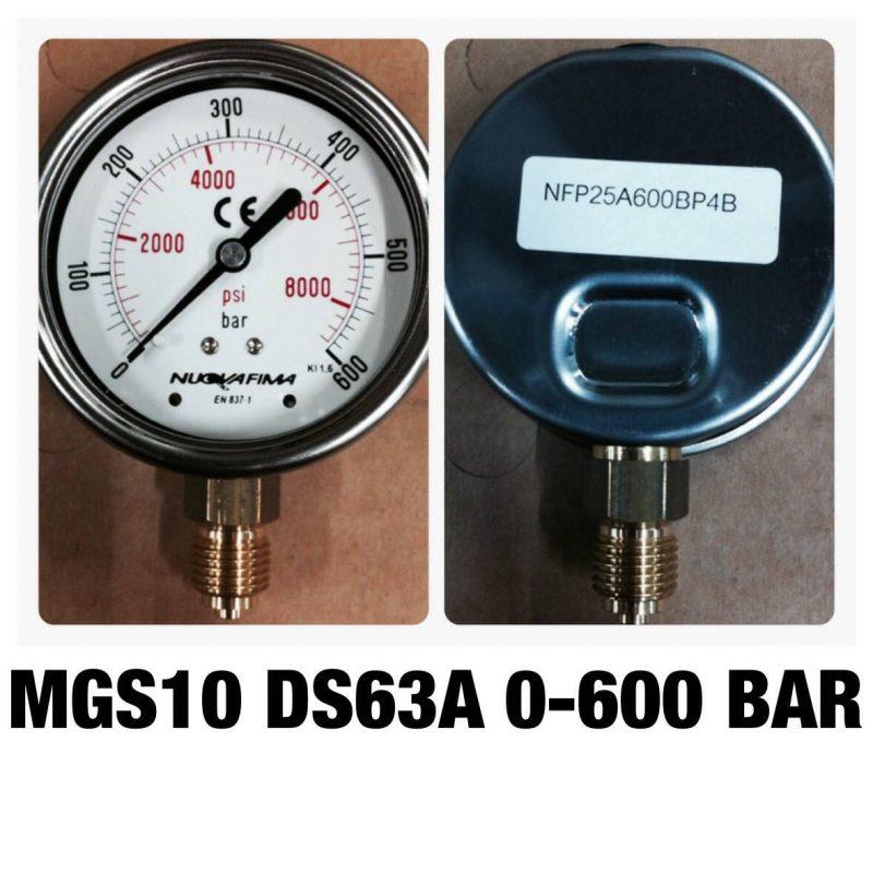 เกจทองเหลือง 2.5 ออกล่าง 60 Bar-600 Bar MGS10 DS63A 0-600 BAR