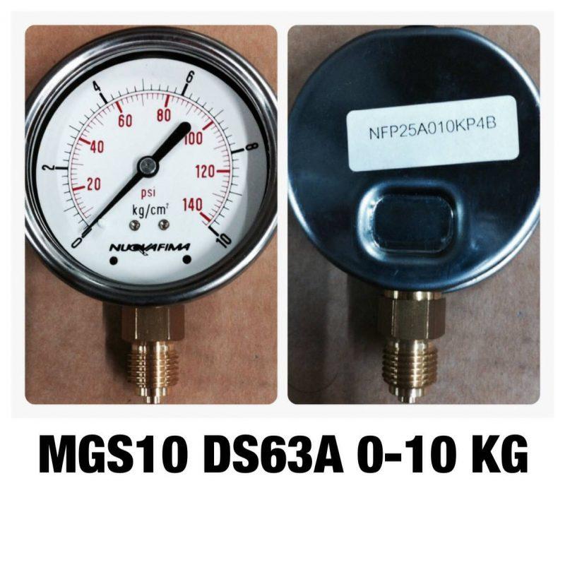 เกจ 2.5 เกลียวทองเหลือง ออกกล่าง 1 Bar-40 Bar MGS10 DS63A 0-10 KG