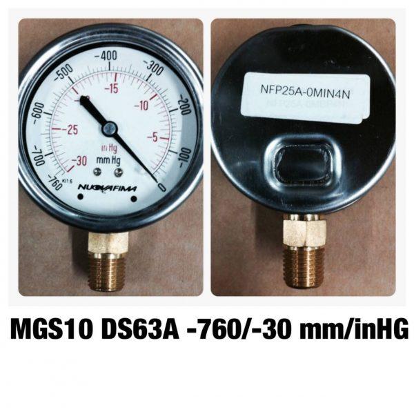แวคคั่ม&คอมพาวเกจ หน้าปัด2.5 เกลียวทองเหลืองออกล่าง MGS10 DS63A -760/-30mm/inHG