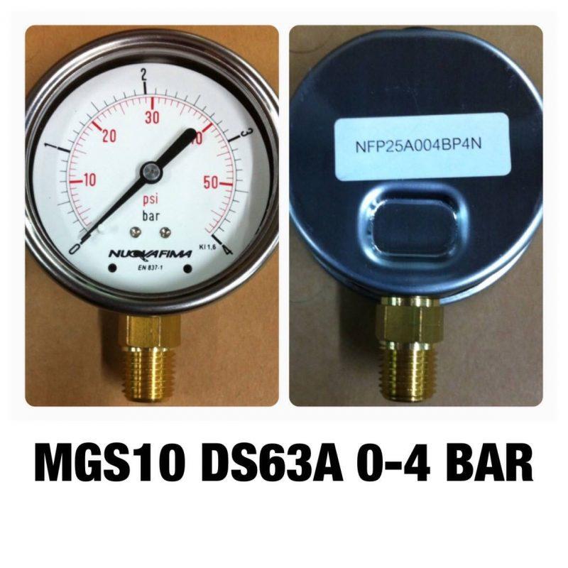 เกจ 2.5 เกลียวทองเหลือง ออกกล่าง 1 Bar-40 Bar MGS10 DS63A 0-4 BAR