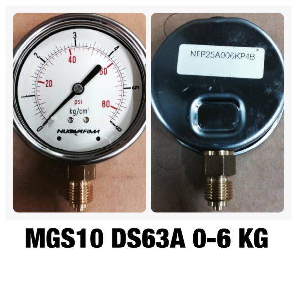 เกจ 2.5 เกลียวทองเหลือง ออกกล่าง 1 Bar-40 Bar MGS10 DS63A 0-6 KG