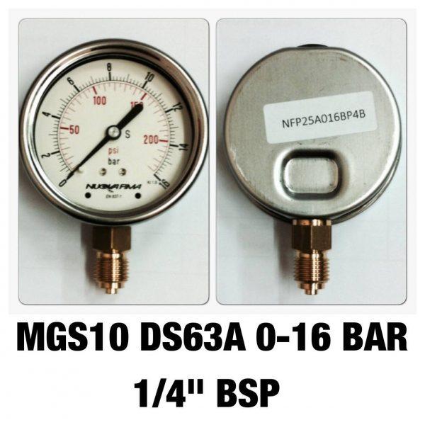 """เกจ 2.5 เกลียวทองเหลือง ออกกล่าง 1 Bar-40 Bar MGS10 DS63A 0-16 BAR 1/4"""" BSP"""