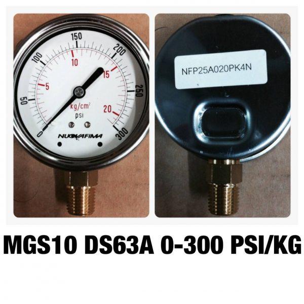 เกจ 2.5 เกลียวทองเหลือง ออกกล่าง 1 Bar-40 Bar MGS10 DS63A 0-300 PSI/KG