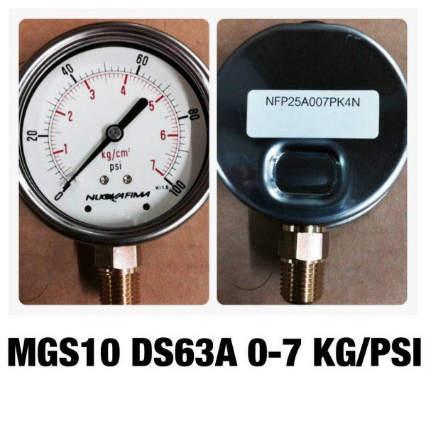 เกจ 2.5 เกลียวทองเหลือง ออกกล่าง 1 Bar-40 Bar MGS10 DS63A 0-7 KG/BAR