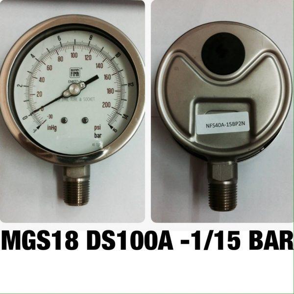 เกจสแตนเลส 4 ออกล่าง แวคคั่ม&คอมพาวเกจ MGS18 DS100A -1/15 BAR
