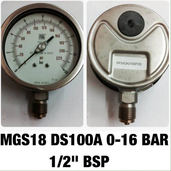 """เกจ 4 สแตนเลส ออกล่าง MGS18 DS100A 0-16 BAR 1/2"""" BSP"""