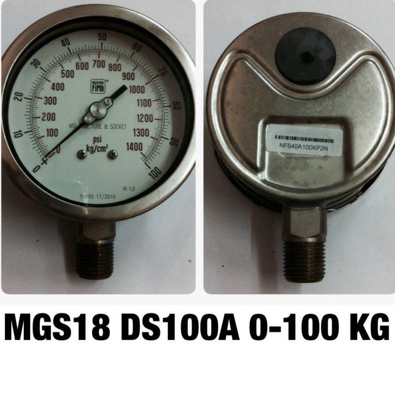 เกจ 4 สแตนเลส ออกล่าง MGS18 DS100A 0-100 KG