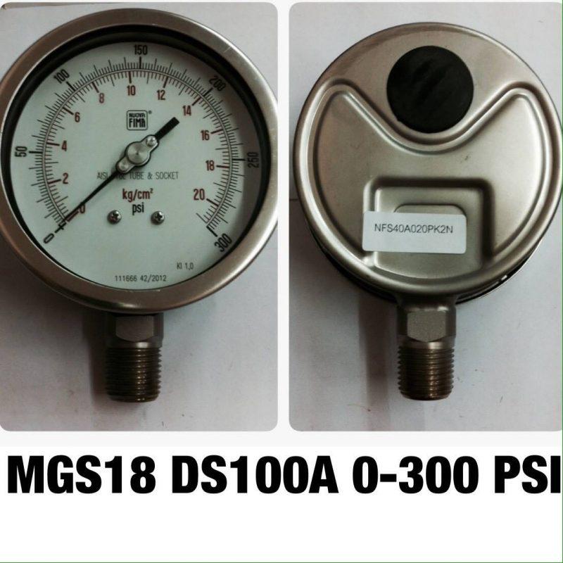 เกจ 4 สแตนเลส ออกล่าง MGS18 DS100A 0-300 PSI