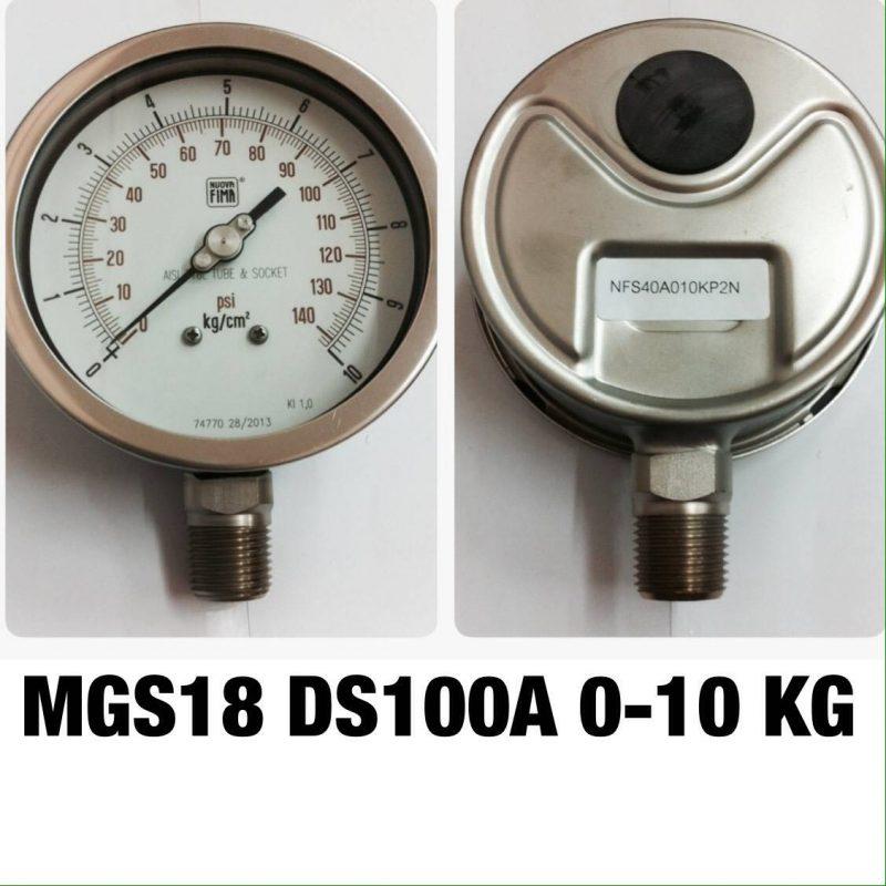 เกจ 4 สแตนเลส ออกล่าง MGS18 DS100A 0-10 KG