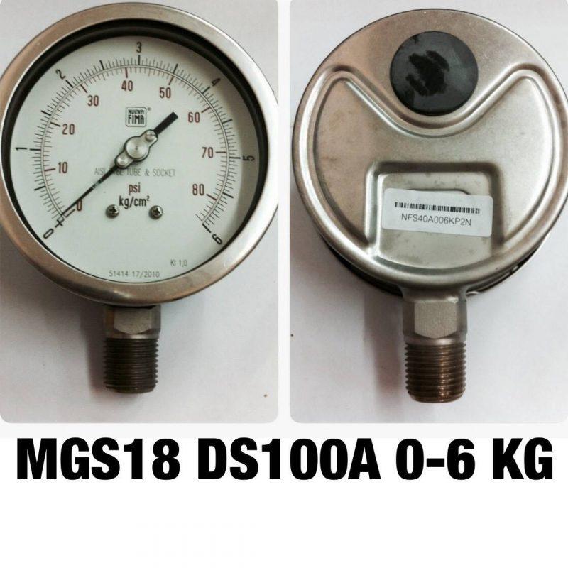 เกจ 4 สแตนเลส ออกล่าง MGS18 DS100A 0-6 KG