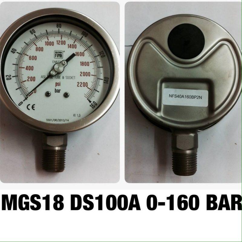 เกจ 4 สแตนเลส ออกล่าง MGS18 DS100A 0-160 BAR