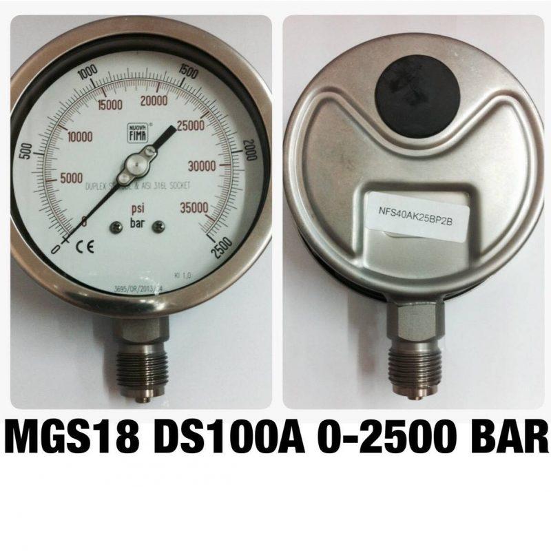 เกจ 4 สแตนเลส ออกล่าง MGS18 DS100A 0-2500 BAR