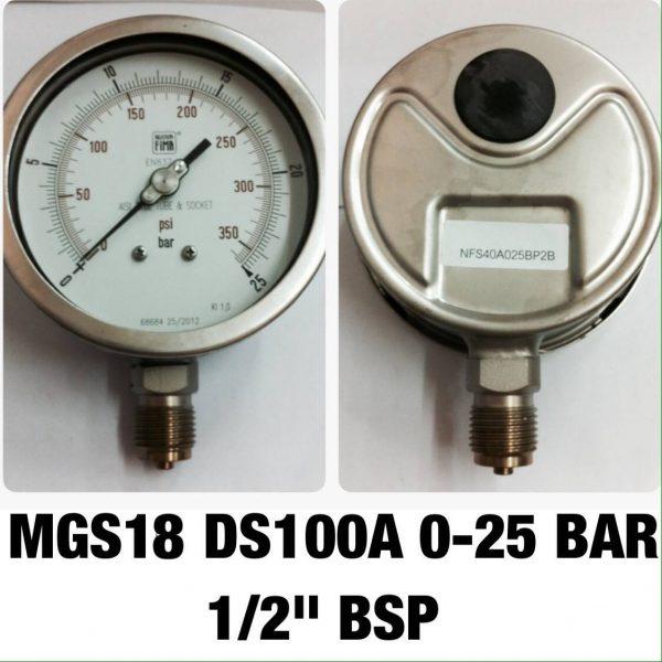 """เกจ 4 สแตนเลส ออกล่าง MGS18 DS100A 0-25 BAR 1/2""""BSP"""
