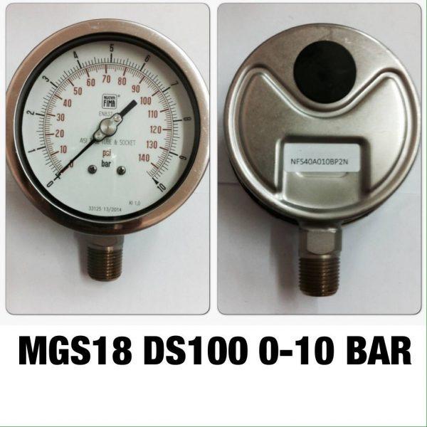 เกจ 4 สแตนเลส ออกล่าง MGS18 DS100A 0-10 BAR