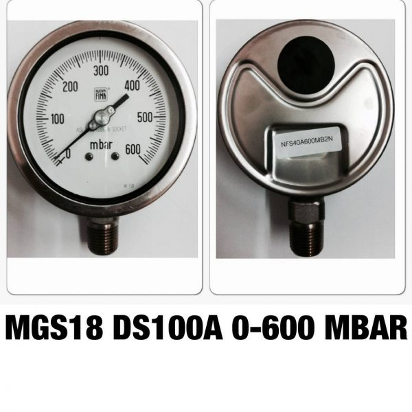 เกจ 4 สแตนเลส ออกล่าง MGS18 DS100A 0-600 MBAR