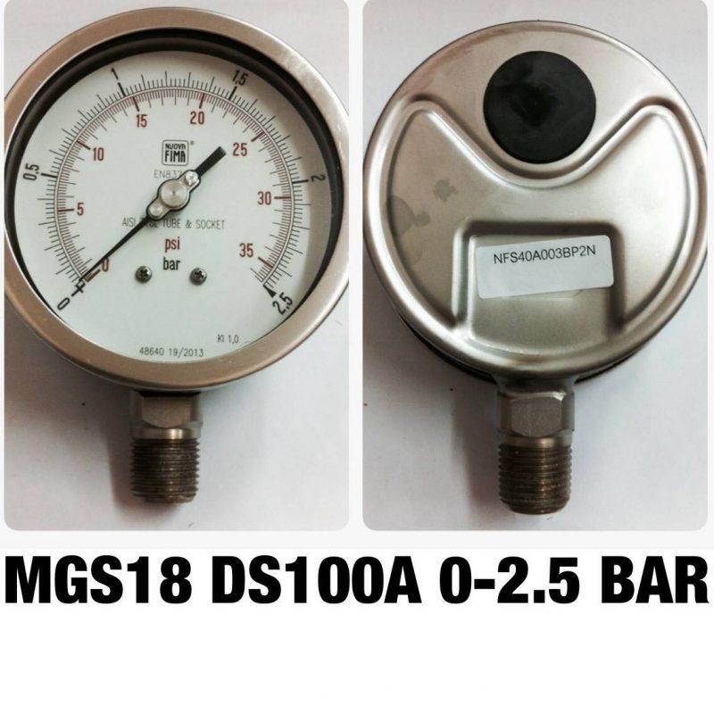 เกจ 4 สแตนเลส ออกล่าง MGS18 DS100A 0-2.5 BAR